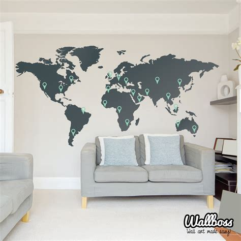 large world map wall sticker large world map wall decal sticker 7ft x 3 47ft vinyl by