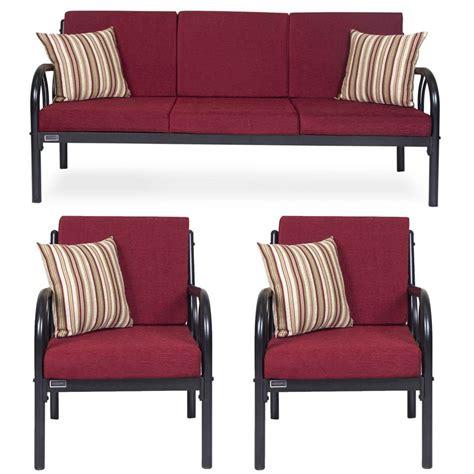 metal set furniturekraft metal 3 1 1 sofa set maroon buy