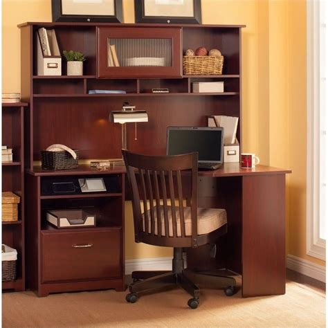 corner computer desk with hutch bush cabot 60 quot corner computer desk with hutch in harvest