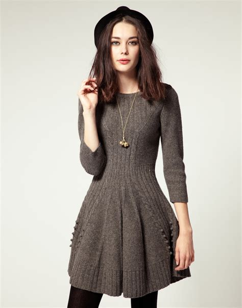 knit dress nw3 by hobbs knit dress with skater skirt in gray