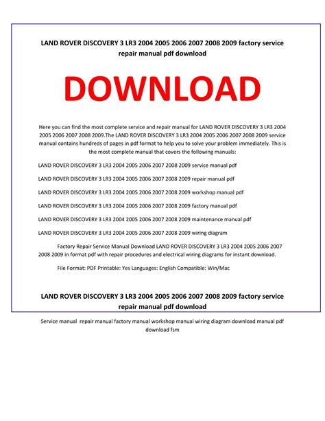 free service manuals online 2005 land rover lr3 spare parts catalogs land rover discovery 3 lr3 2004 2005 2006 2007 2008 2009 factory repair service manual download
