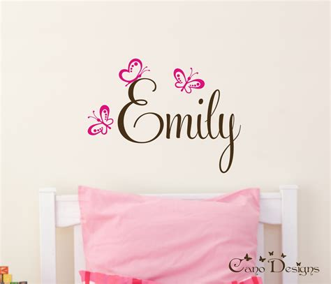name stickers for wall personalized name with butterflies custom vinyl wall decals