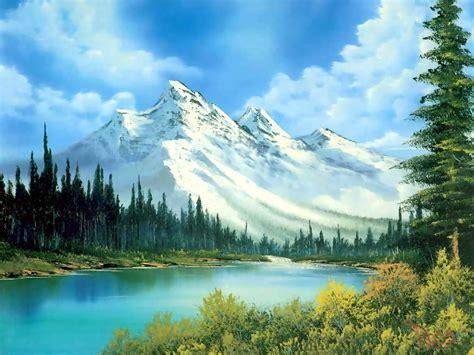 bob ross paintings up landscape desktop screensavers