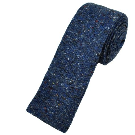 wool knit tie profuomo royal blue wool blend designer knitted