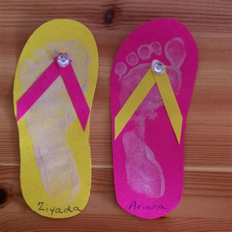 flip flop craft projects flip flop footprint craft for pre schoolers crafty