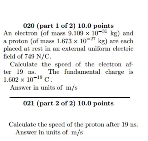 Mass Of Proton In Kg by Solved An Electron Of Mass 9 109 Times 10 31 Kg And A P
