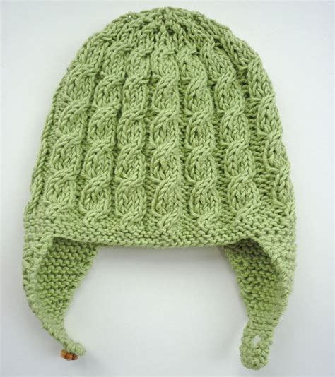 earflap hat knitting pattern baby earflap hat knitting pattern with cable design by