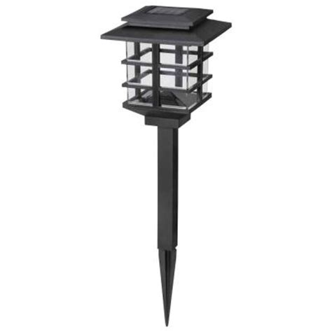 solar outdoor lights home depot hton bay 10 light plastic black solar led garden light