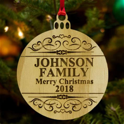 custom tree ornaments personalized wooden laser engrave ornaments