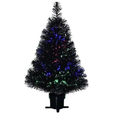 black fiber optic tree time pre lit 32 quot fiber optic artificial
