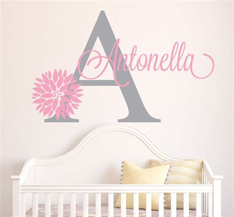 personalized wall decals for rooms personalized flowers name wall decal room decor