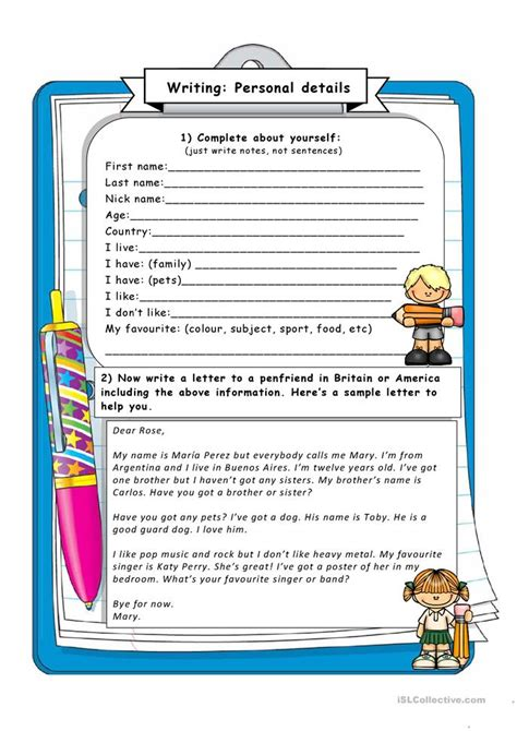 my reading info writing giving personal information worksheet free esl