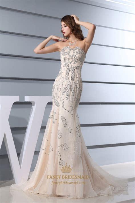 beaded mermaid prom dress strapless beaded mermaid prom dress chagne