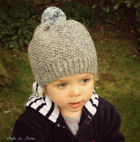 knit kid hat pattern made in home toddler pompom beanie hat a free pattern