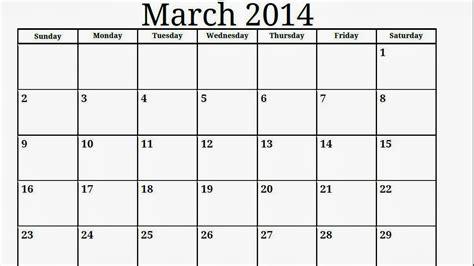 blank march 2014 calendar printable printable calendar
