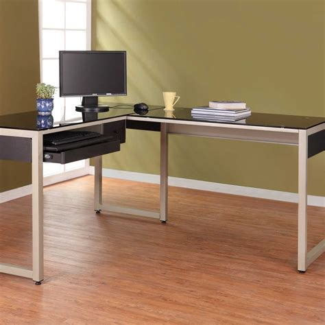 black l shaped computer desk black glass computer desk for home office