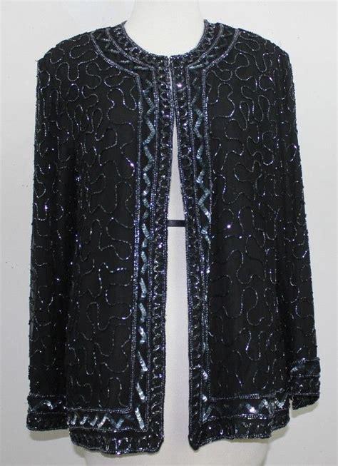 beaded evening jackets jmd sz l black silk beaded evening jacket b53 ebay