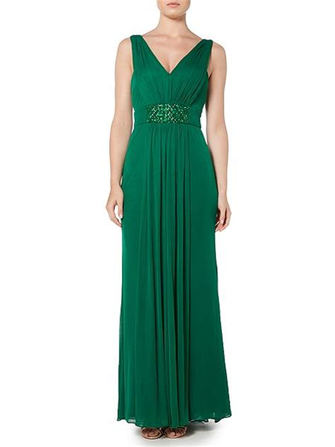 js collections beaded gown js collections v neck gown with panel beaded waist emerald