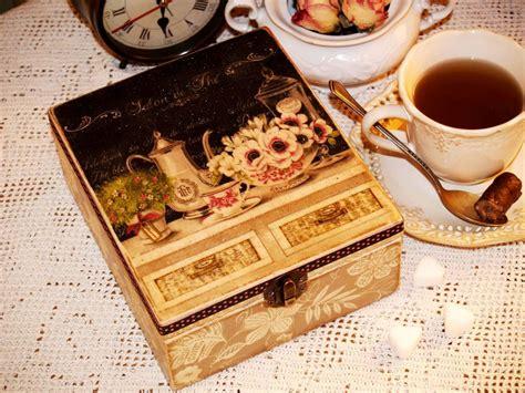 decoupage tea box handmade decoupage tea box quot salon de the quot antique