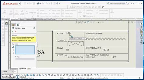 table anchors title block and sheet format in solidworks