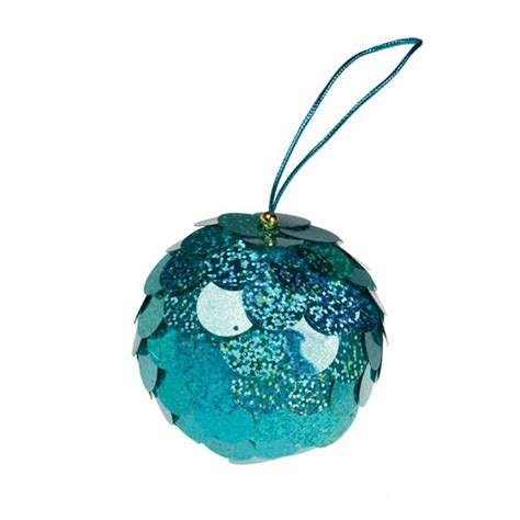 turquoise baubles turquoise sequin bauble 80mm time uk
