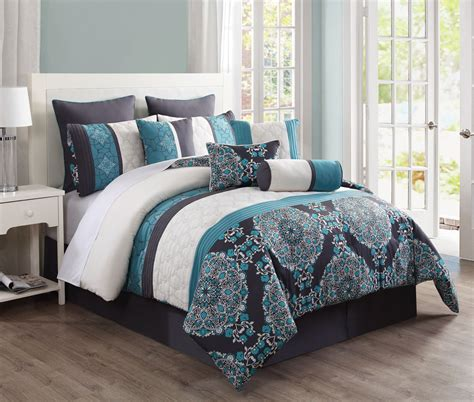 20 comforter set king 10 pc grey teal blue floral embroidery comforter set