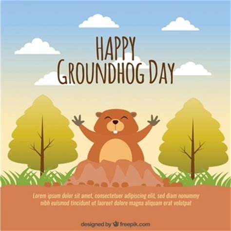 groundhog day free happy groundhog day vector premium