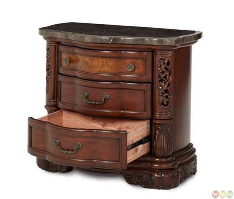 fruitwood bedroom furniture michael amini excelsior traditional fruitwood bedside