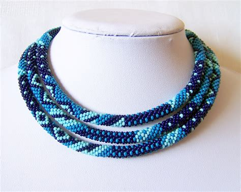 seed bead rope necklace beaded crochet rope necklace beadwork seed by