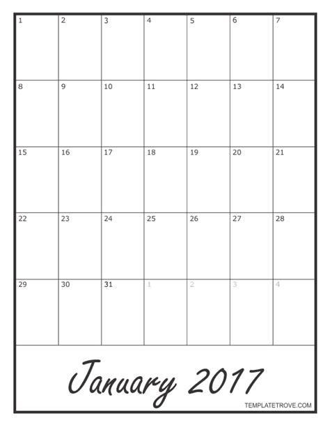 2017 blank monthly calendar