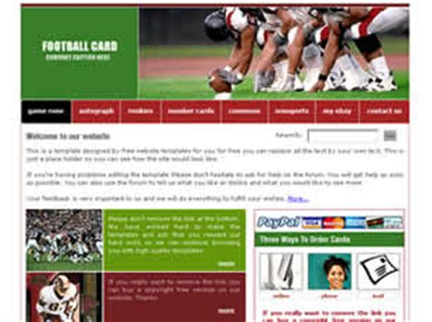 card websites for free football card free website template free css templates
