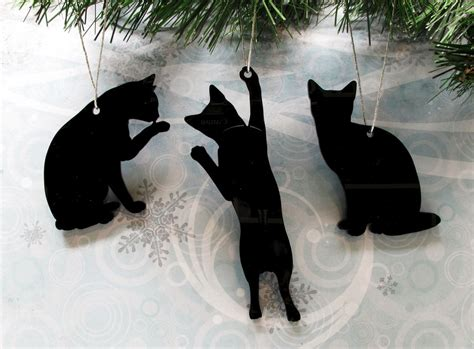 ornaments cats cat silhouette ornaments tree decorations cat