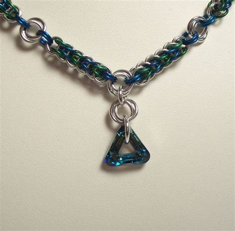mail jewelry bermuda triangle chain mail necklace