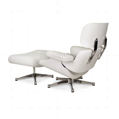 eames chair white eames style lounge chair and ottoman white leather white