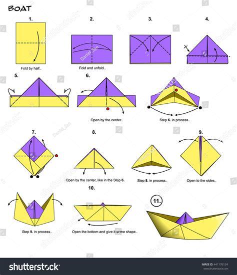 origami san boat origami paper boat steps stock illustration 441176134