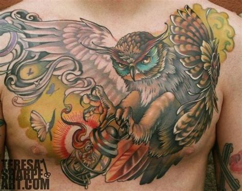 one awesome owl chest piece tattoo gorgeous tattoos