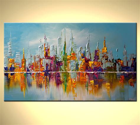 modern palette knife abstract city painting nyc new york