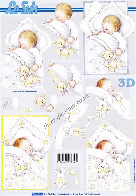 baby decoupage a sleeping baby 3d decoupage sheet from le suh