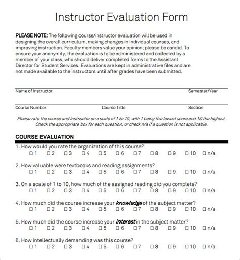 instructor evaluation form 7 download free documents in pdf