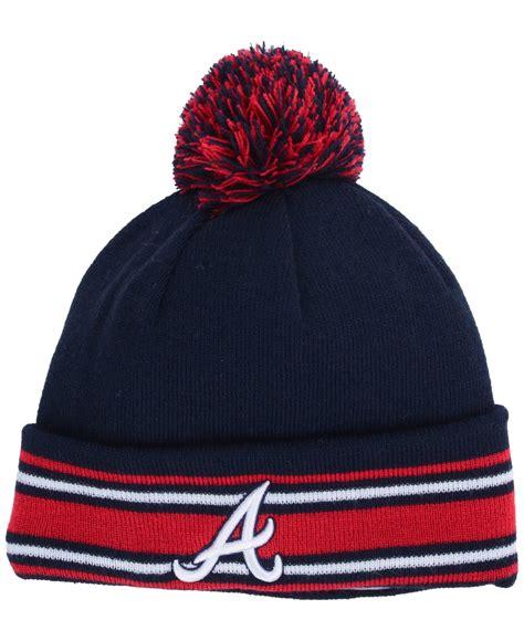 atlanta braves knit hat ktz atlanta braves mlb ac knit hat in blue for lyst