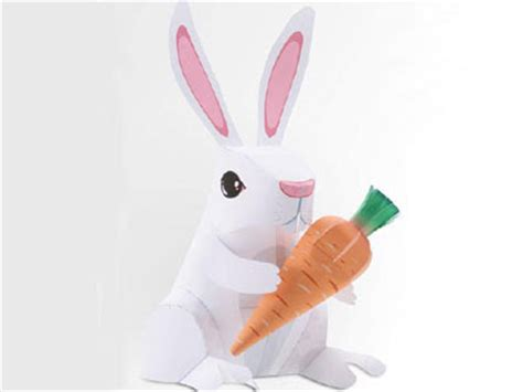 paper craft rabbit animal easter rabbit paper model pepakura corner