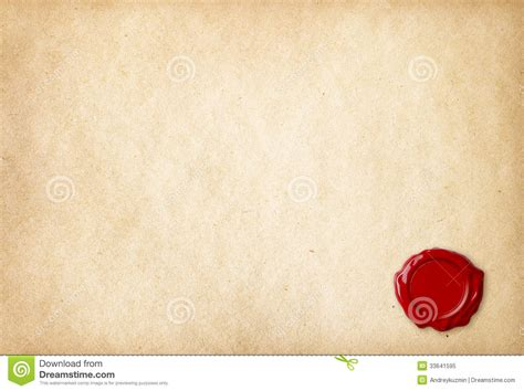 sealing paper blank paper with wax seal stock image image