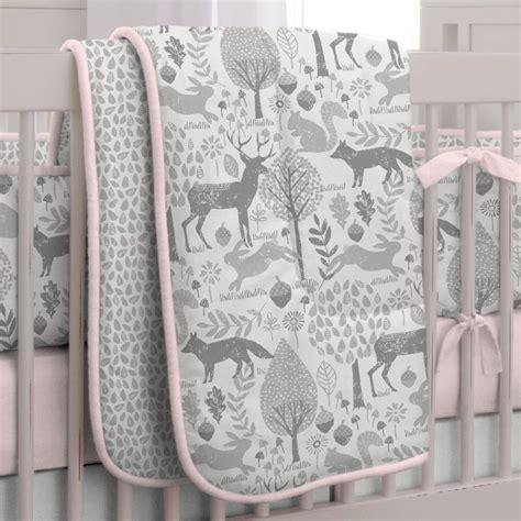 crib bedding sets pink and gray pink and gray woodland 3 crib bedding set carousel