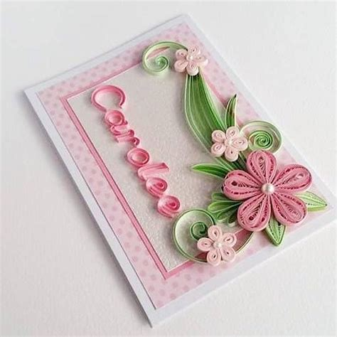 card with quilling personalized name card quilling card with name