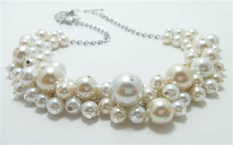 pearls jewelry ivory and white cluster necklace pearl necklace bridal