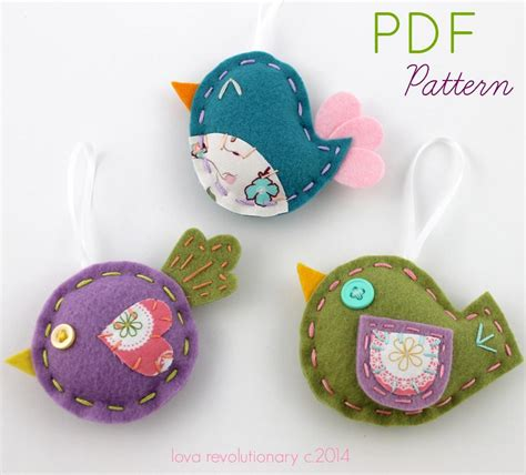 ornament patterns sewing felt bird ornaments sewing pattern by lovahandmade