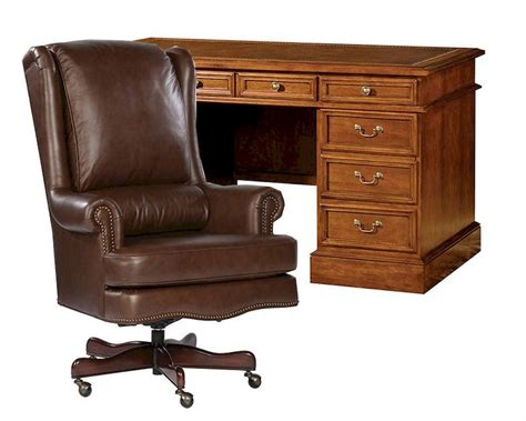 office desk leather top office set w leather top pedestal desk by hekman he
