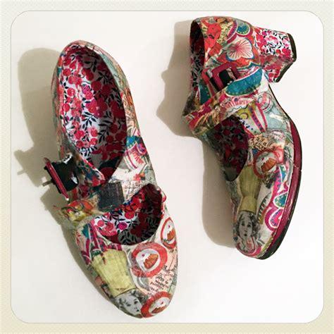 decoupage shoes with paper decoupage collage workshops gabriela szulman