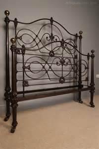 antique iron bed 19th c cast iron bed original paint 4ft 6 antiques