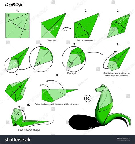 easy origami snake origami animal snake cobra diagram stock